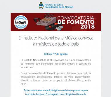 El Instituto Nacional de la Música convoca a músicos de todo el país